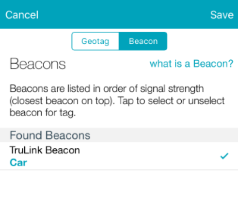 Beacons option and description in TruLink Hearing Control App.