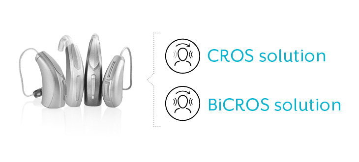 CROS and BiCROS hearing solutions for single-sided deafness or unilateral hearing loss.